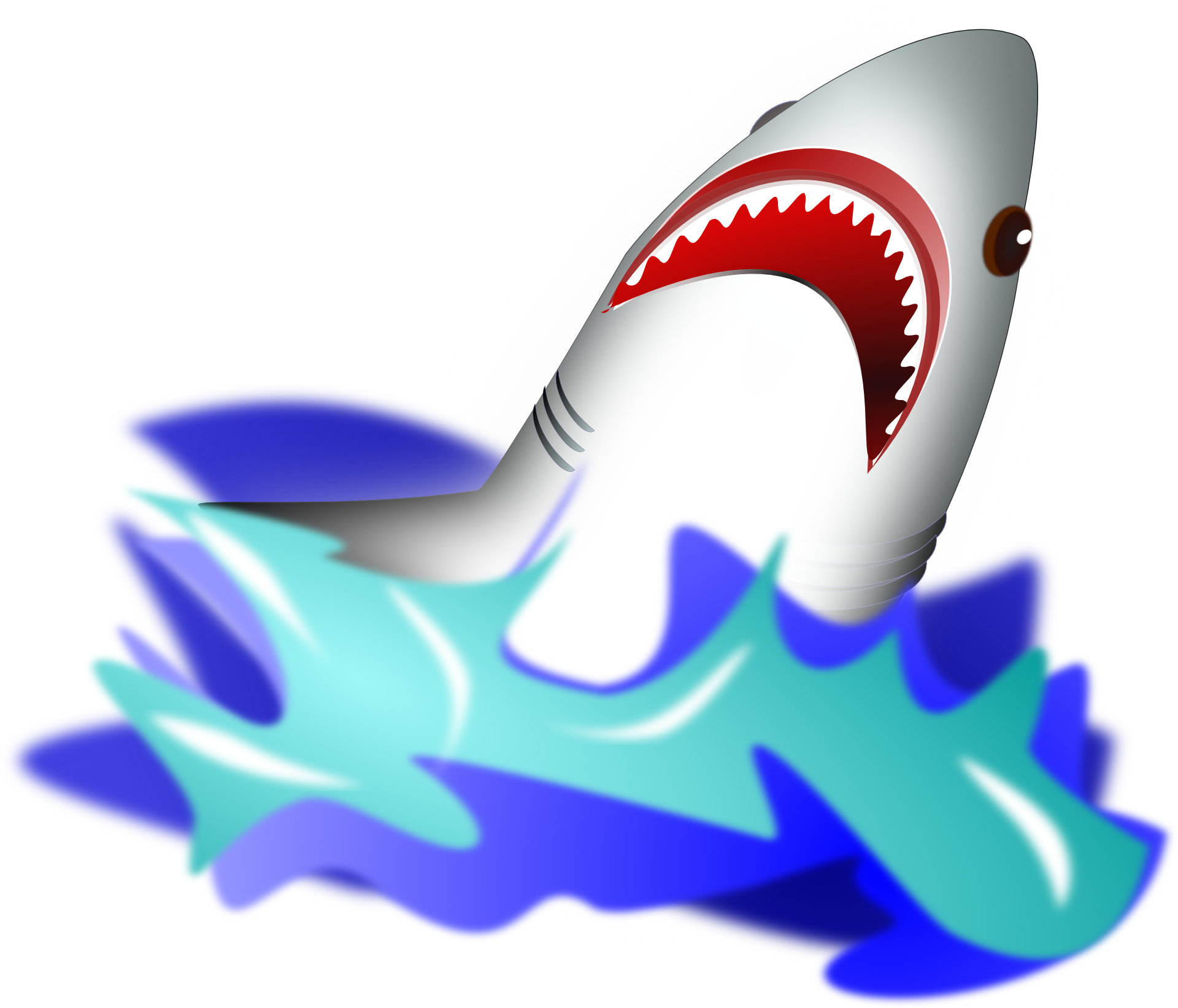 Cartoon animal,shark vector,ocean,waves