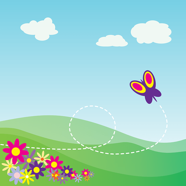 Cartoon landscape - blue sky & butterfly & flower