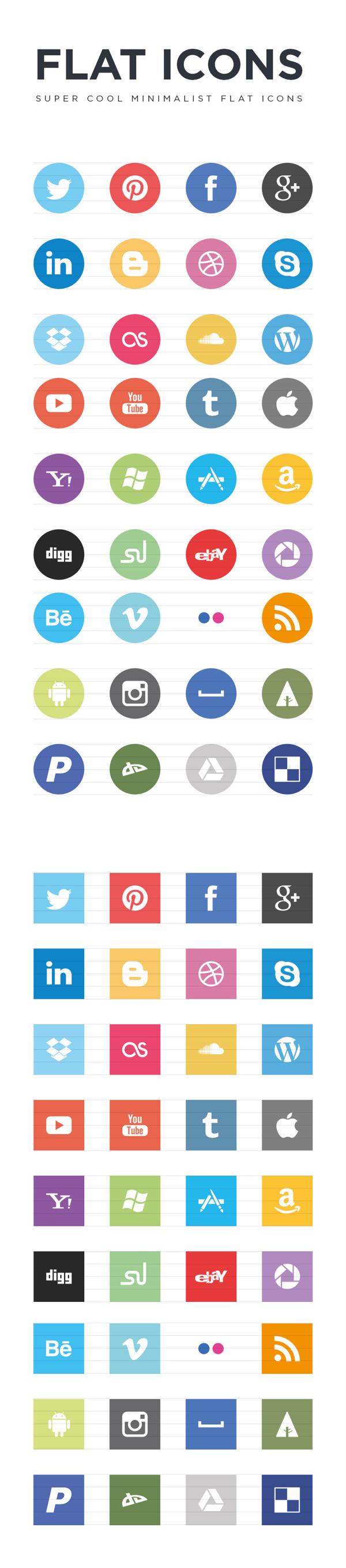 Cool minimalist Flat social icons
