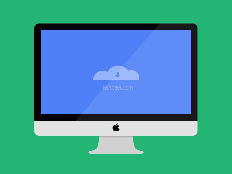 Flat illustration of iMac For Mockup/Wireframes