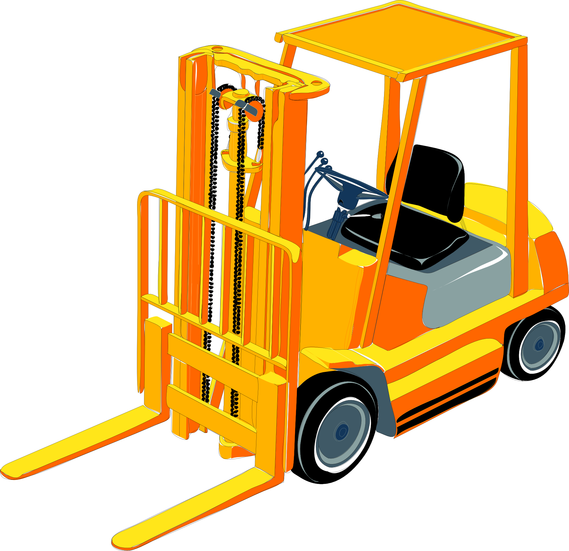 Forklift truck vector-Construction Machinery