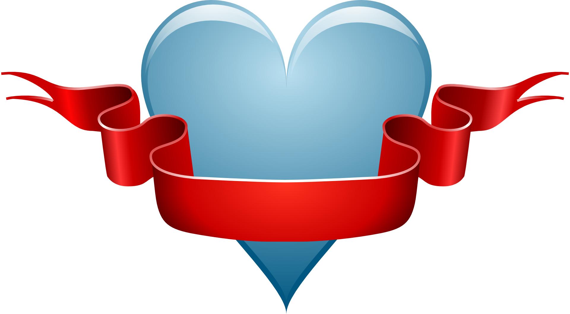 Light-blue heart,love,red ribbon vector