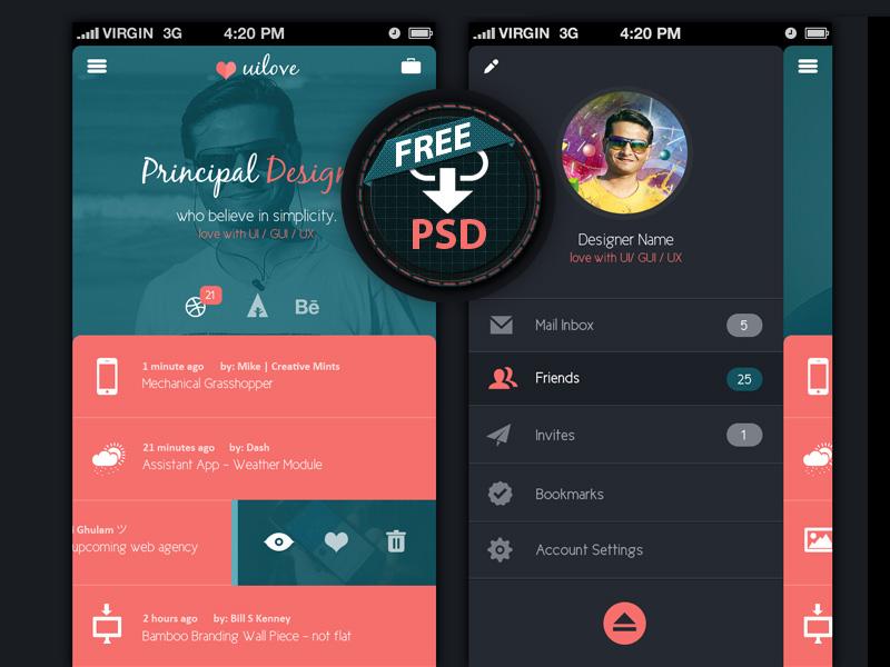 Mobile App Design UI Free PSD