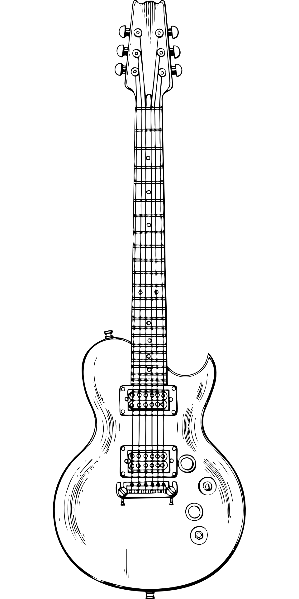 Musical instrument-electric guitar outline vector