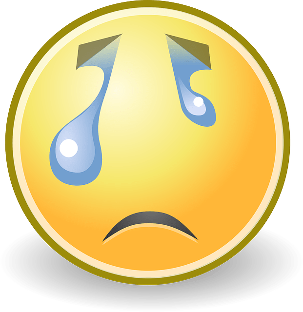 Sad Crying Tears face expression vector