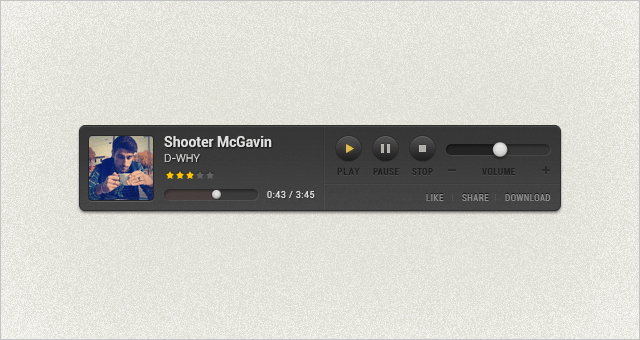 Simple Music Player For Websites Free PSD