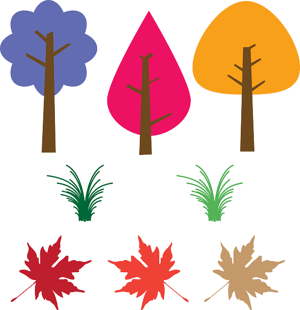 Simple grass trees leaves free vector