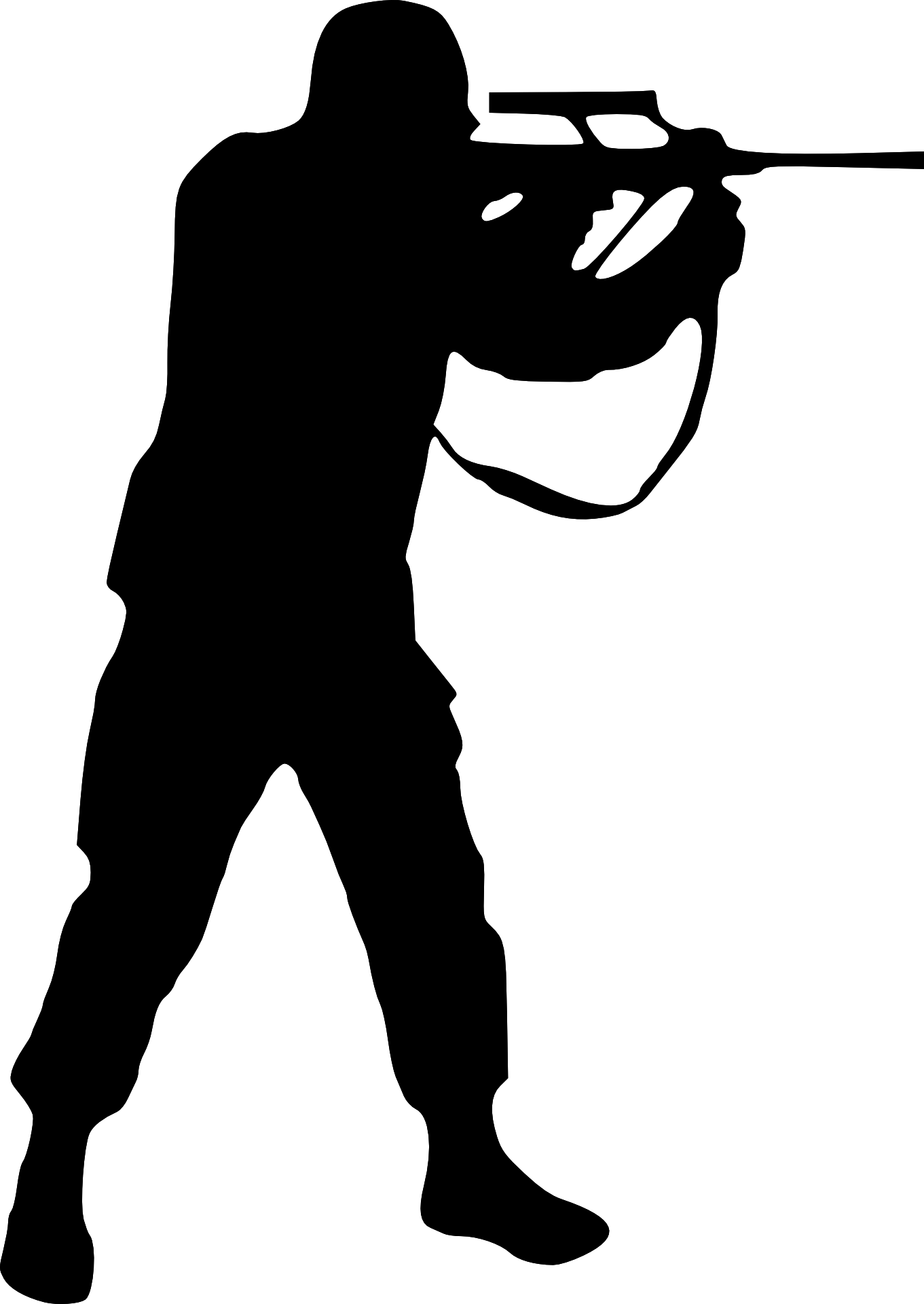 Soldier shooting silhouette vector-battle outline