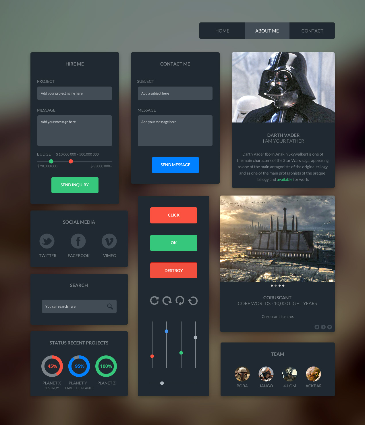 UI Kit Free PSD-Dark Desgin