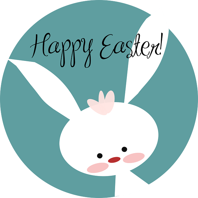 White Rabbit Happy Easter Vector