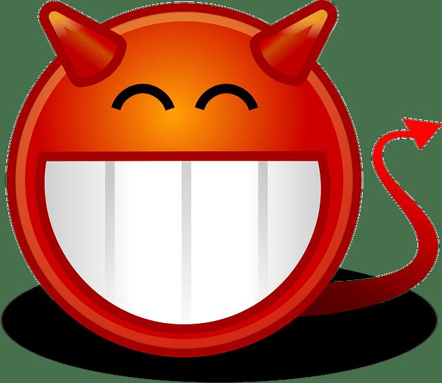 devilish smile cartoon face vector
