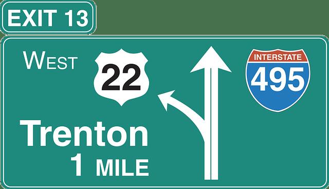 sign left symbol road exit interstate highway
