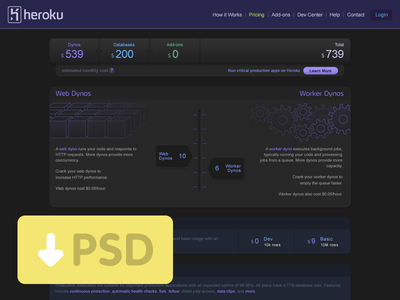 Dark style UI Design PSD