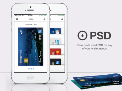 Free Credit Card Psd For Wallet APP