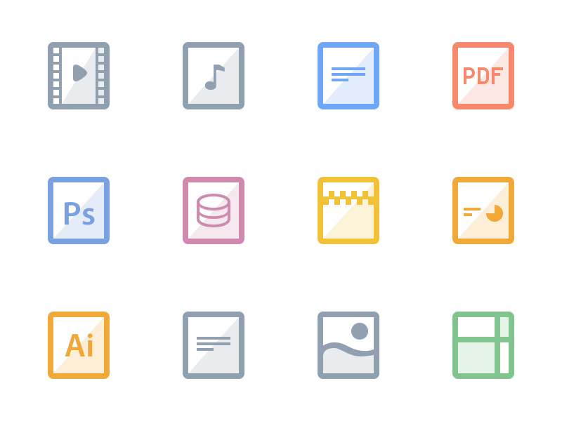 Free Flat Files Icons PSD