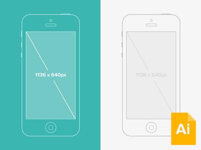Free Illustrator iPhone Wireframe Mockup Vector