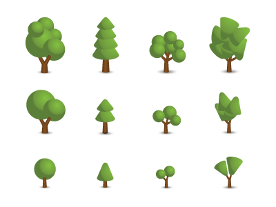 Free Trees icons Vector illustration