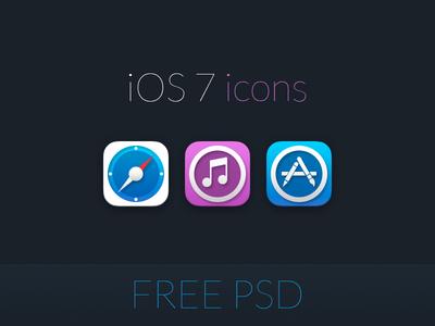 Free iOS 7 icons,clock,music PSD