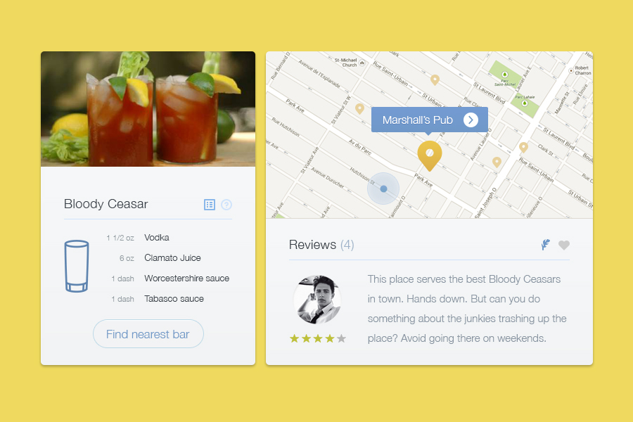 Freebie-Cocktail Map UI PSD