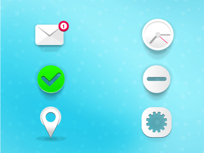 Vector Icons -Clock Gear Letter Placemark