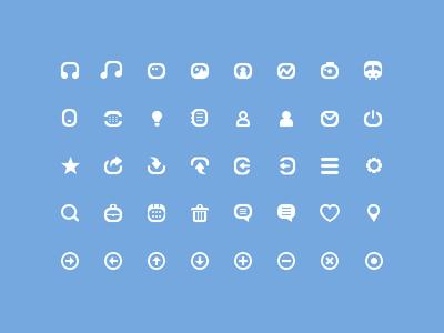 40 Simple mini Icons PSD
