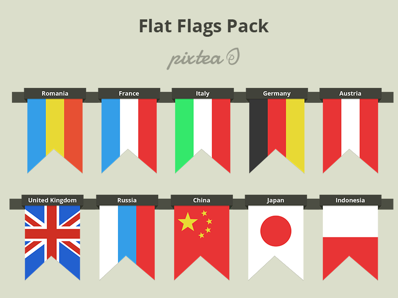 Flat Free Flags PSD