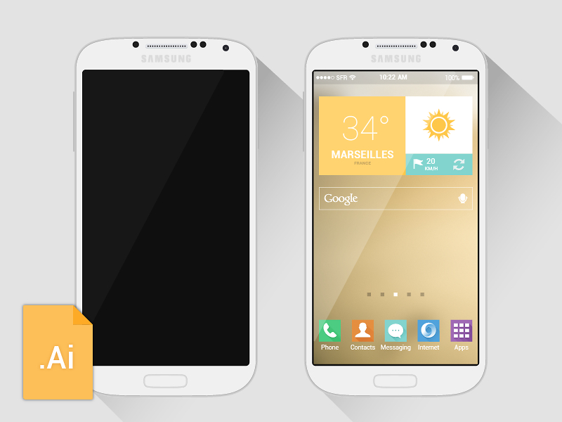 Free Galaxy S4 Mockup Template Vector