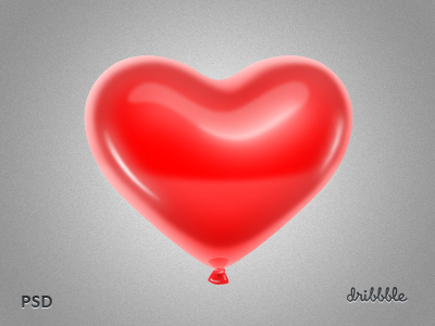 Red Heart-shaped Balloon PSD