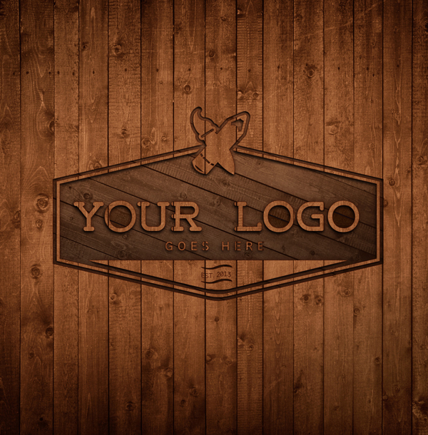 Free Wood Logo MockUp Template PSD