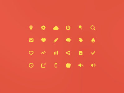 24 Yellow Icons PSD