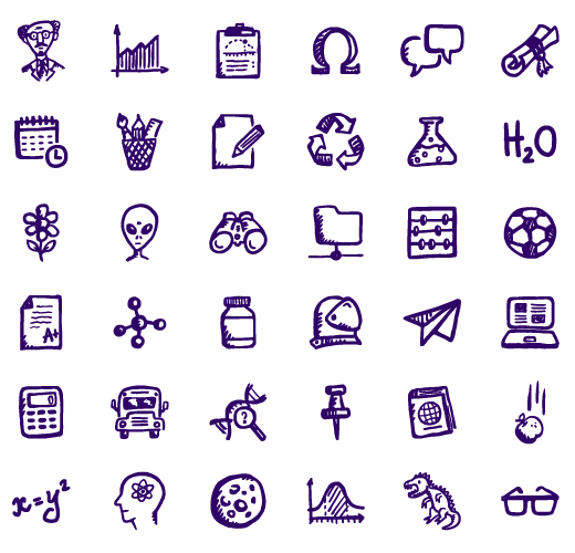36 Hand-drawn Science and Education Icons