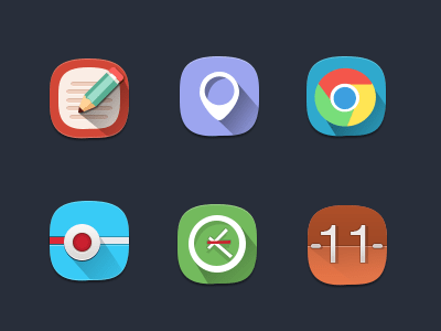 Free-Flat icons with long shadows
