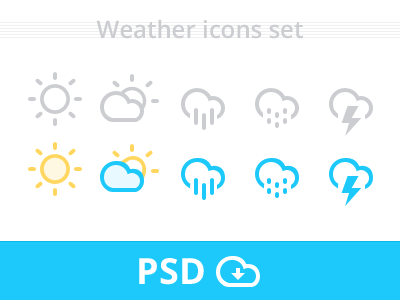 Free Weather Icons set PSD