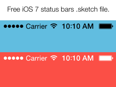Free iOS 7 Status Bars (Sketch File)