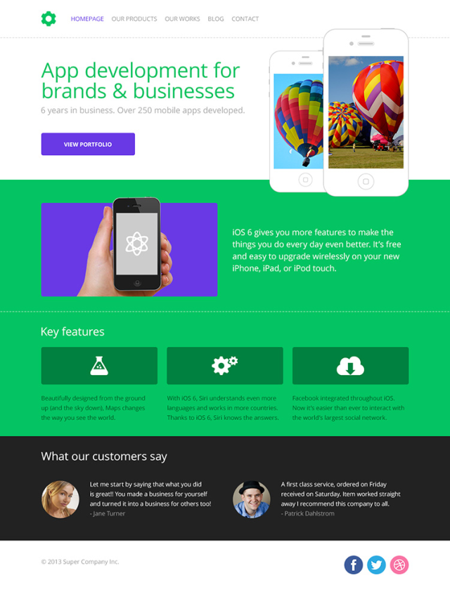 HTML5 PSD Template (homepage subpage)