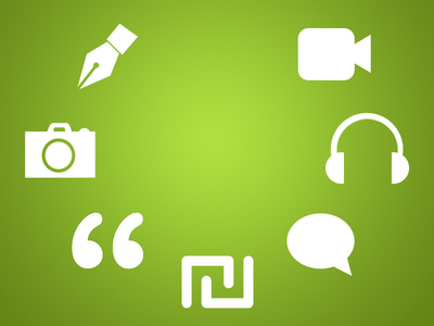 Icons PSD-Pen / Headphone / Camera / Video / Chat / Quotation mark