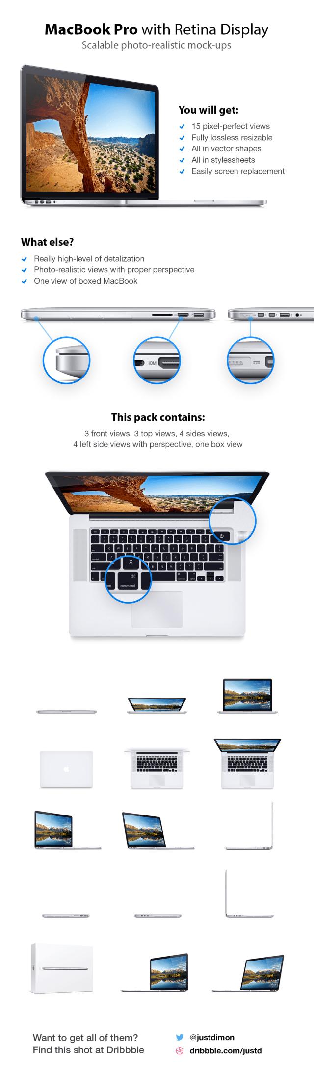 Macbook Pro Retina Mockup Template PSD