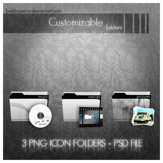Movies,Pictures,Music Folder Icon PGN & PSD