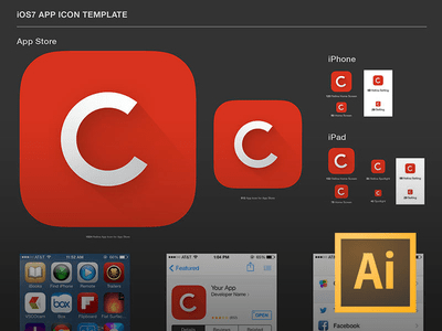 Retina iOS7 App Icon Template For Illustrator