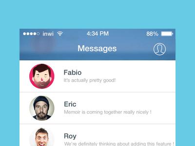 iOS 7 Facebook Messenger UI PSD