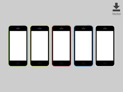 iOS iPhone 5c Vector Mockup (Wireframes)
