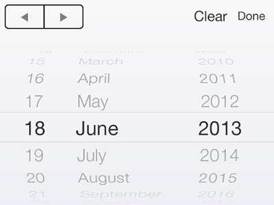 iOS7 iPhone Date Picker PSD