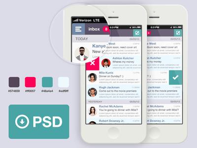 iPhone Email Widget PSD