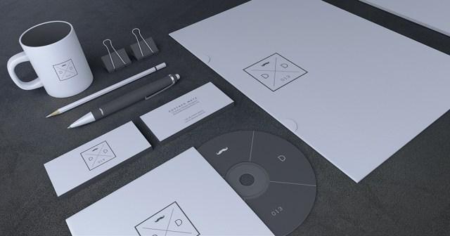 Blank Stationery Branding Mock-Up Card PSD 3