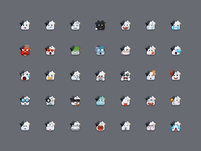 Cute Emoticons Icon Set (PNG)