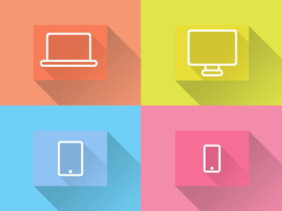 Flat Icons:Desktop,Laptop, Tablet, Smartphone