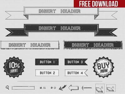 Free Hand Drawn UI Kit PSD
