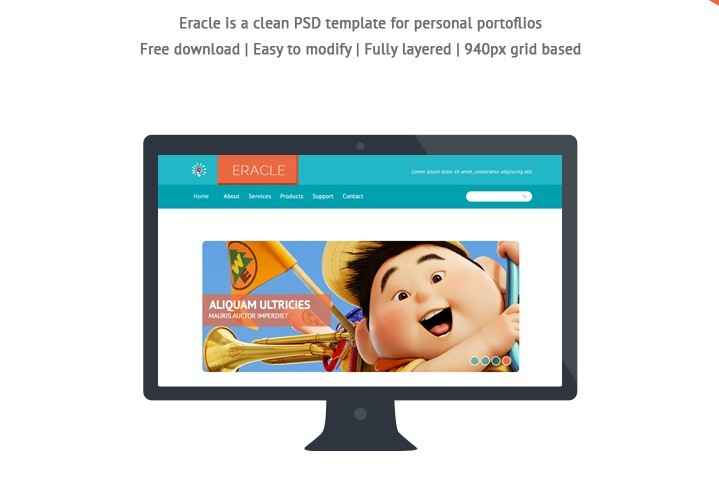 Free PSD - Clean Personal Portfolios WebsiteTemplate