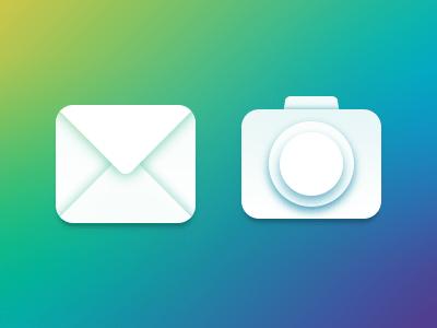 Transparent Mail & Lens Icon PSD