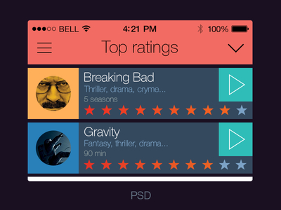 iOS 7 iPhone APP - Cinema Guide UI PSD